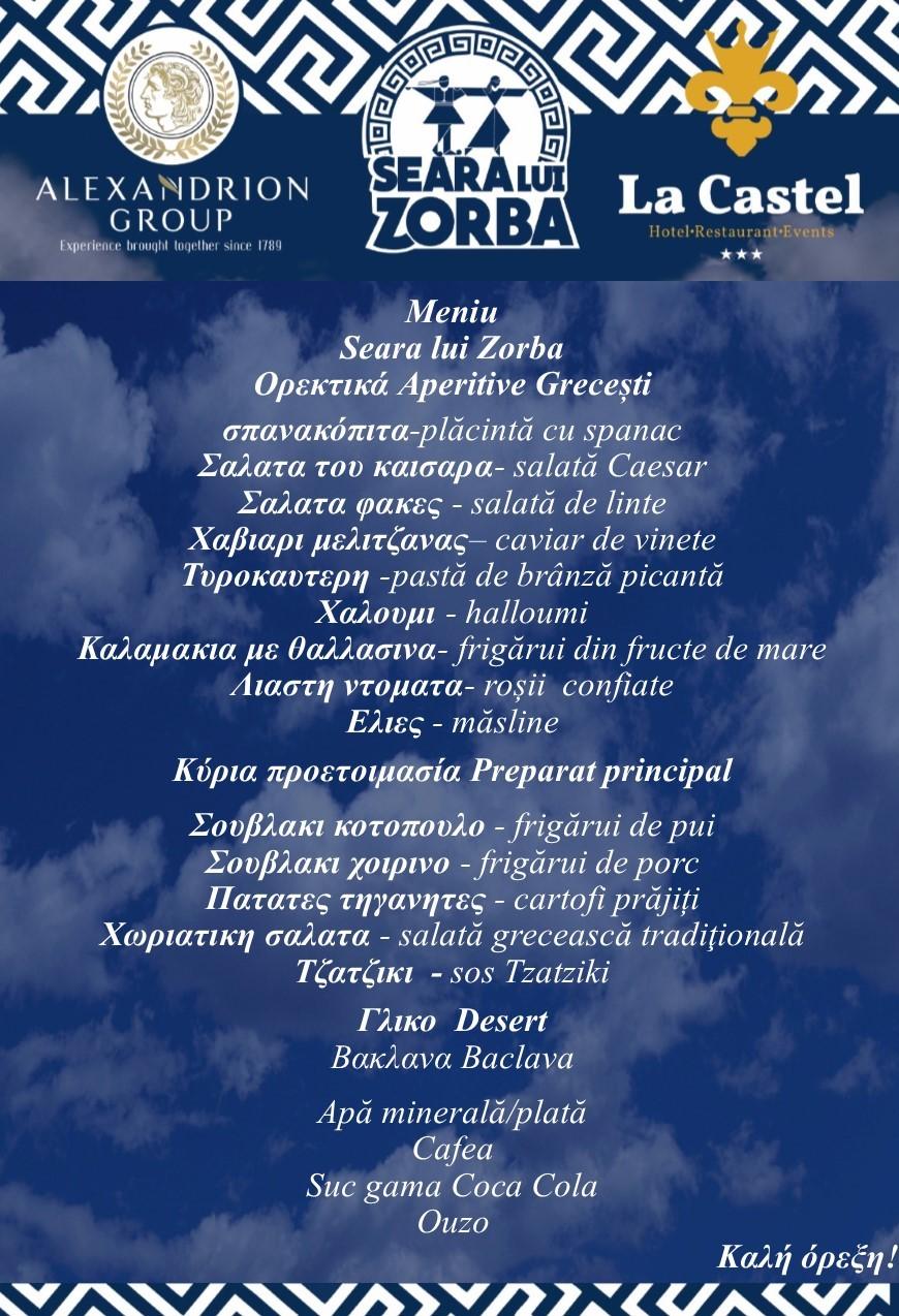 Meniu Seara lui Zorba