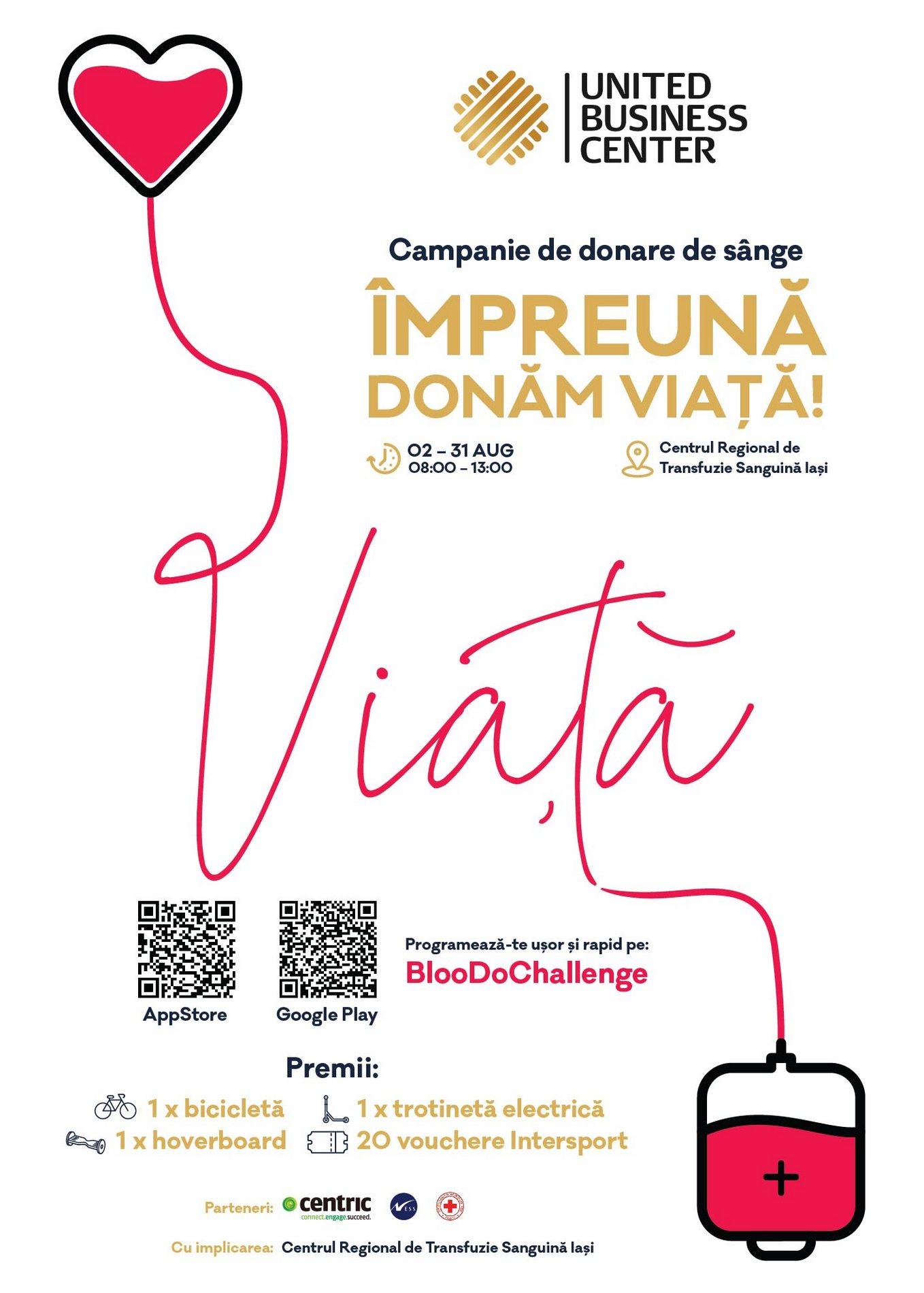 """Campanie de donare de sânge """"Împreună donăm viață"""""""
